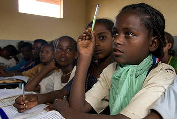 Young African Girl in School