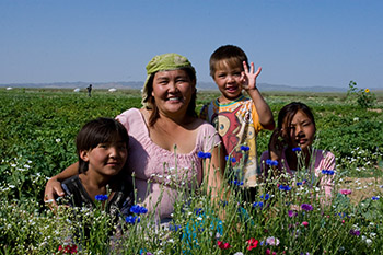 Mother and Children in Mongolia