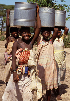 Collecting water in Malawi